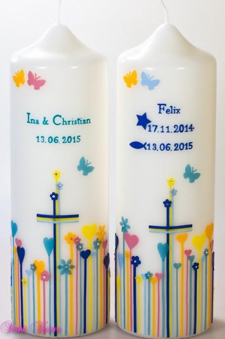 Zwillings Taufkerzen Herzwiese in der Farbe weiß  für nur  85,00€