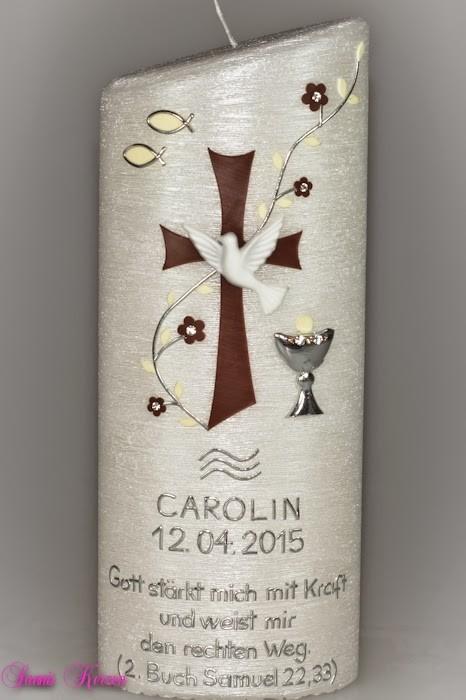 Taufkerze Perlmutt mit Kreuz oval abg. in der Farbe Perlmutt  für nur 54,00€