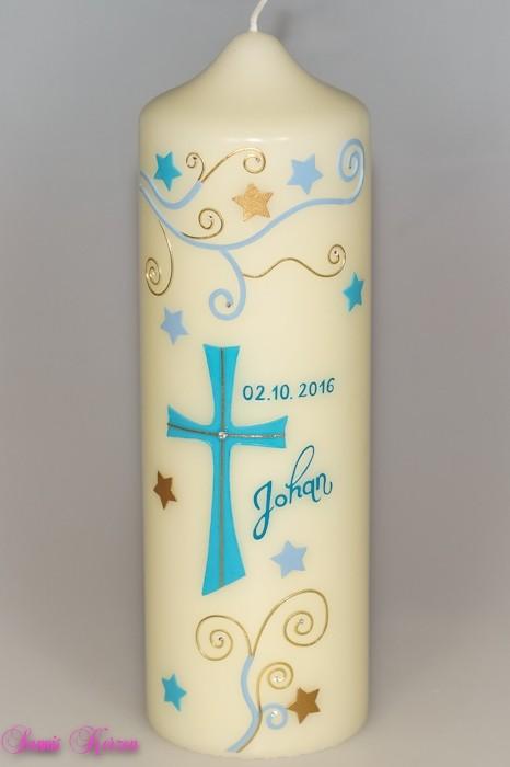 /Taufkerze S&P mit Sterne von elfenbein in der Farbe elfenbein  for 38,00€