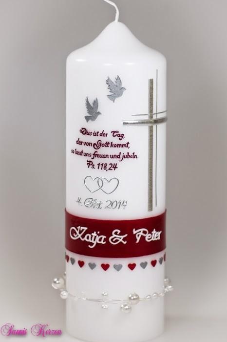 """Hochzeitskerze """"Tauben"""" mit Spruch in der Farbe weiß  für nur  36,00€"""