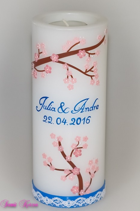"""Hochzeitskerze """"Kirschblüten"""" mit Teelichteinsatz"""