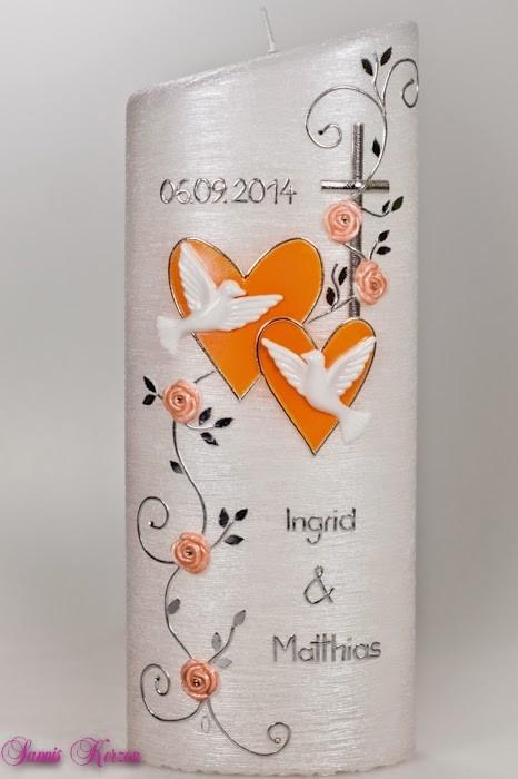 """Hochzeitskerze """"romantisch"""" mit Blättern oval abg. Perlmutt in der Farbe weiß  für nur 43,20€"""
