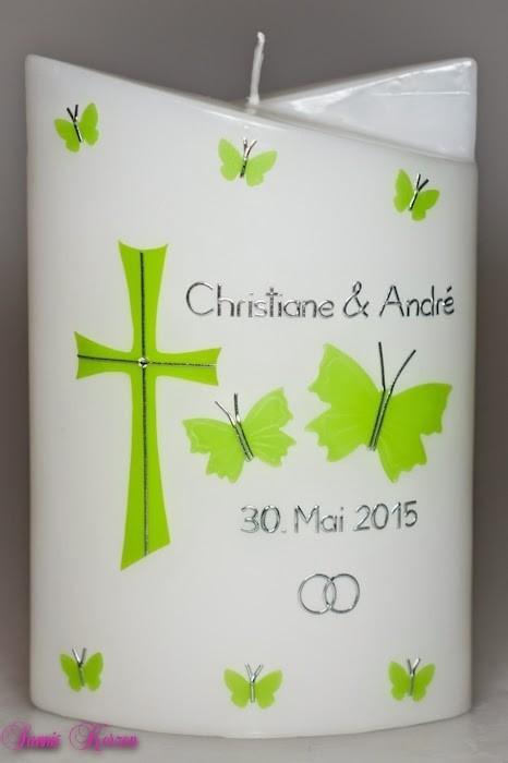 Hochzeitskerze Schmetterlinge doppelt oval abg. in der Farbe weiß  für nur  43,00€