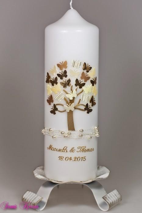 Hochzeitskerze Schmetterlinge in weiß in der Farbe weiß  für nur 38,00€
