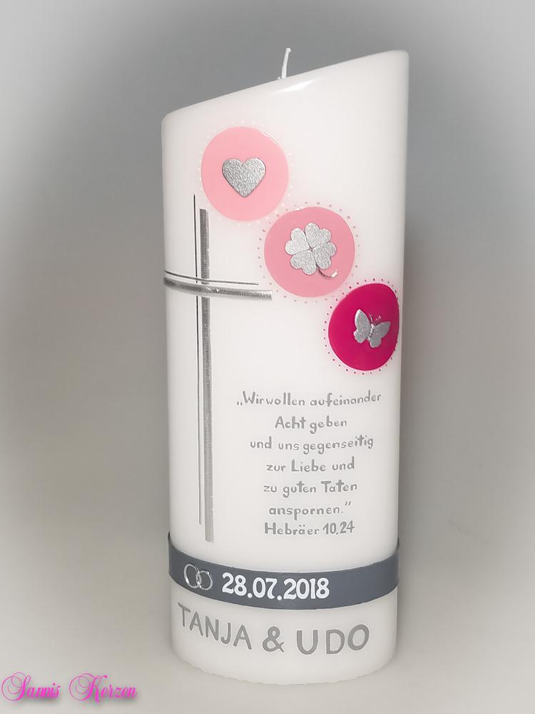 Hochzeitskerze Zeichen mit Trauspruch oval abg. in der Farbe weiß  für nur 40,50€
