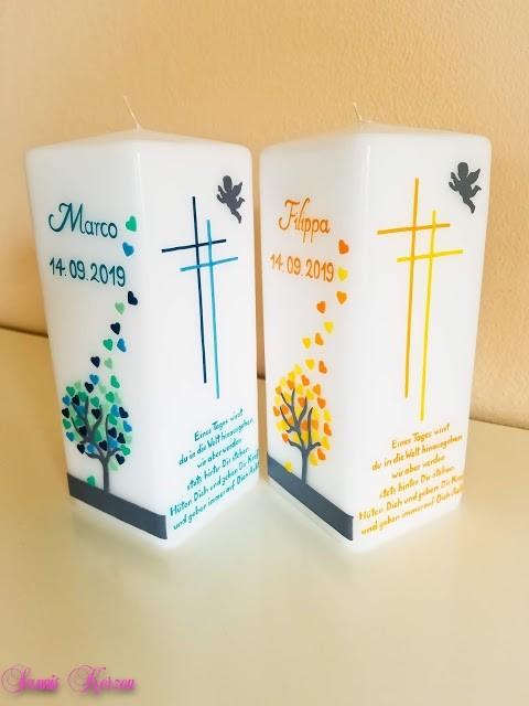"""Taufkerze """"Zwillingsbäume"""" viereckig in der Farbe weiß  für nur  109,00€"""