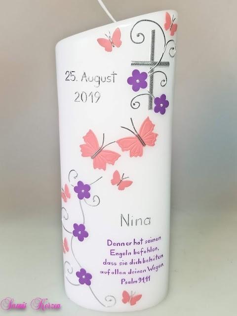 """Taufkerze """"romantisch"""" mit Schmetterlingen und Spruch oval abg. in der Farbe weiß  für nur 41,50€"""
