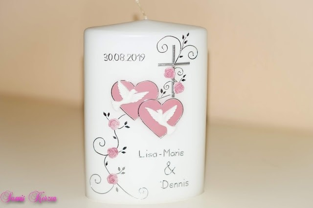 """Hochzeitskerze """"romantisch""""oval breit in der Farbe weiß  für nur 43,20€"""
