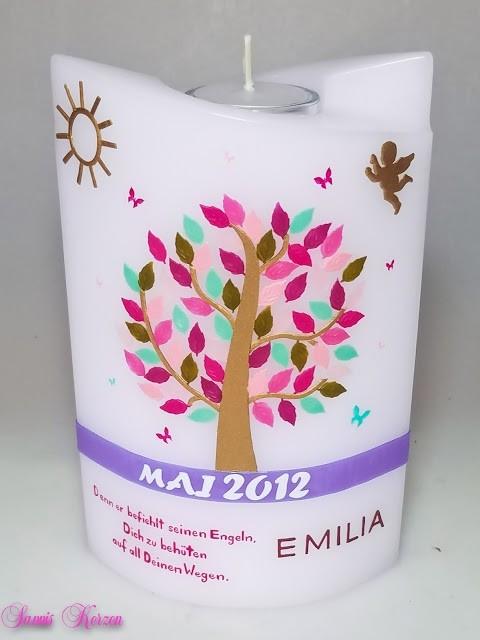 Trauerkerze mit Baum doppelt oval abg. mit Teelicht in der Farbe weiß  für nur 60,00€