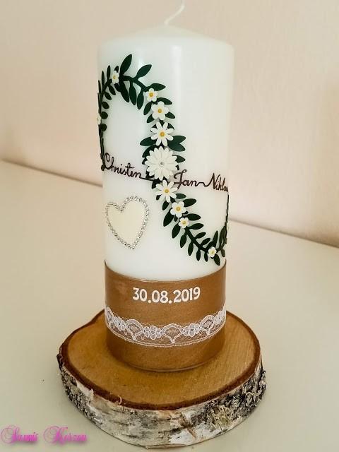 Hochzeitskerze Vintage Infinity mit Strassherz in der Farbe weiß  für nur 36,30€