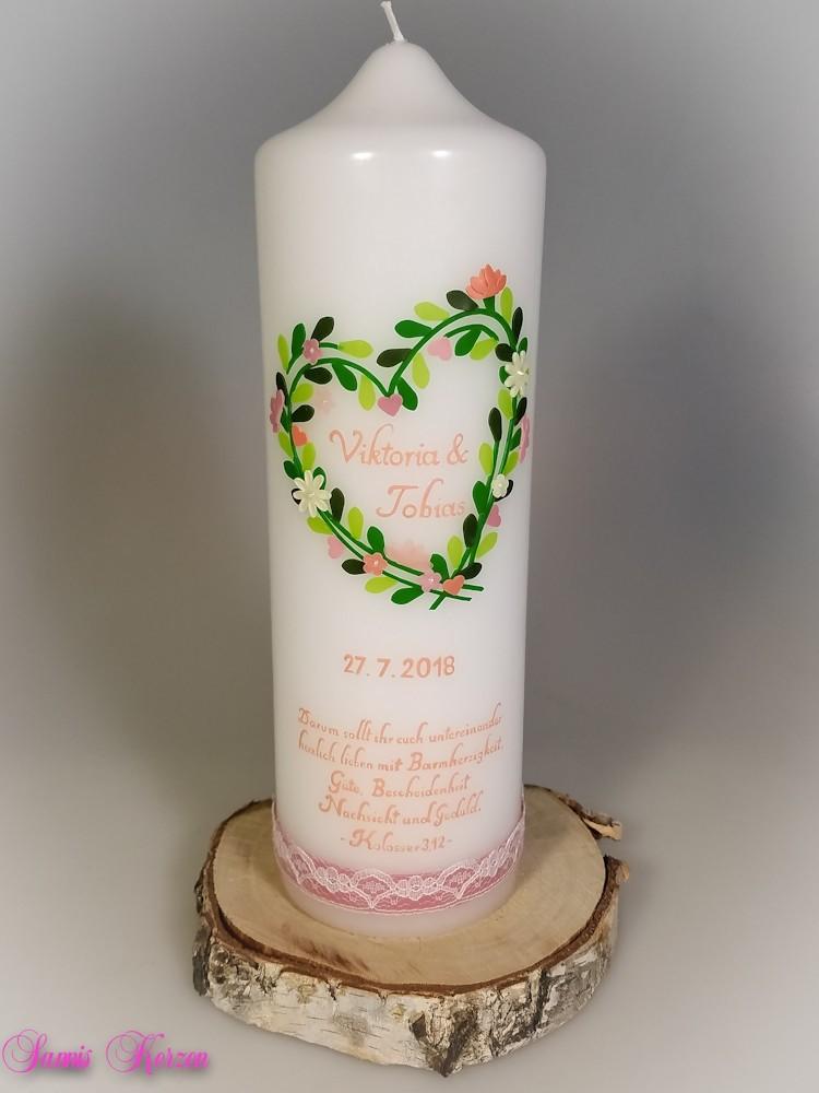 Hochzeitskerze Vintage Herz mit Spruch in der Farbe weiß  für nur  46,50€