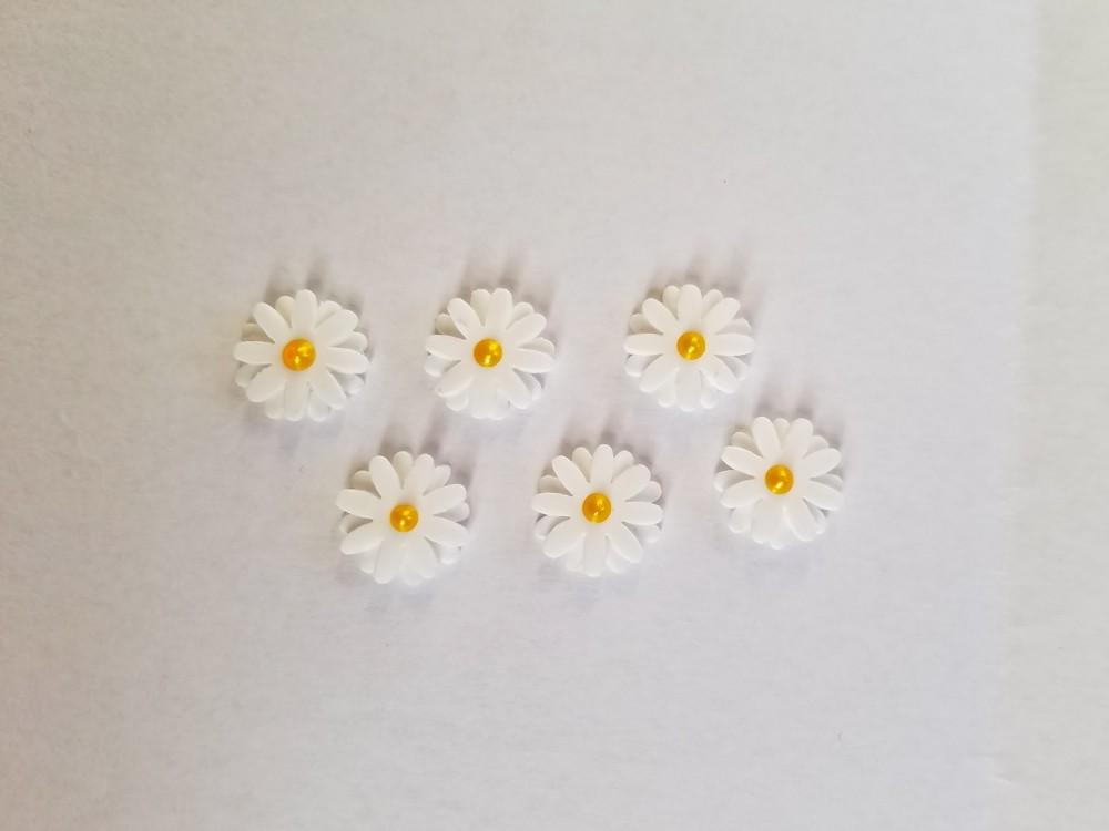 Gänseblümchen 6 Strass Wachs-Blüten für nur 3,90€