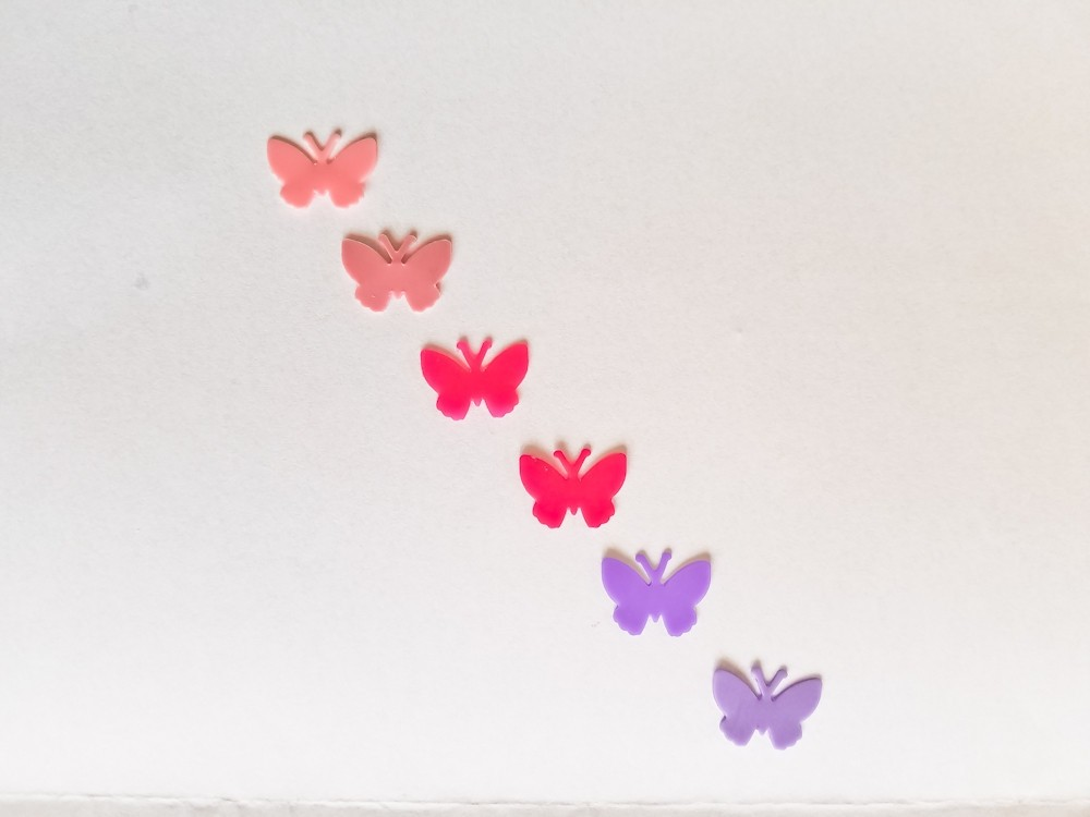 Mädchenfarben 6 Wachs-Schmetterlinge klein