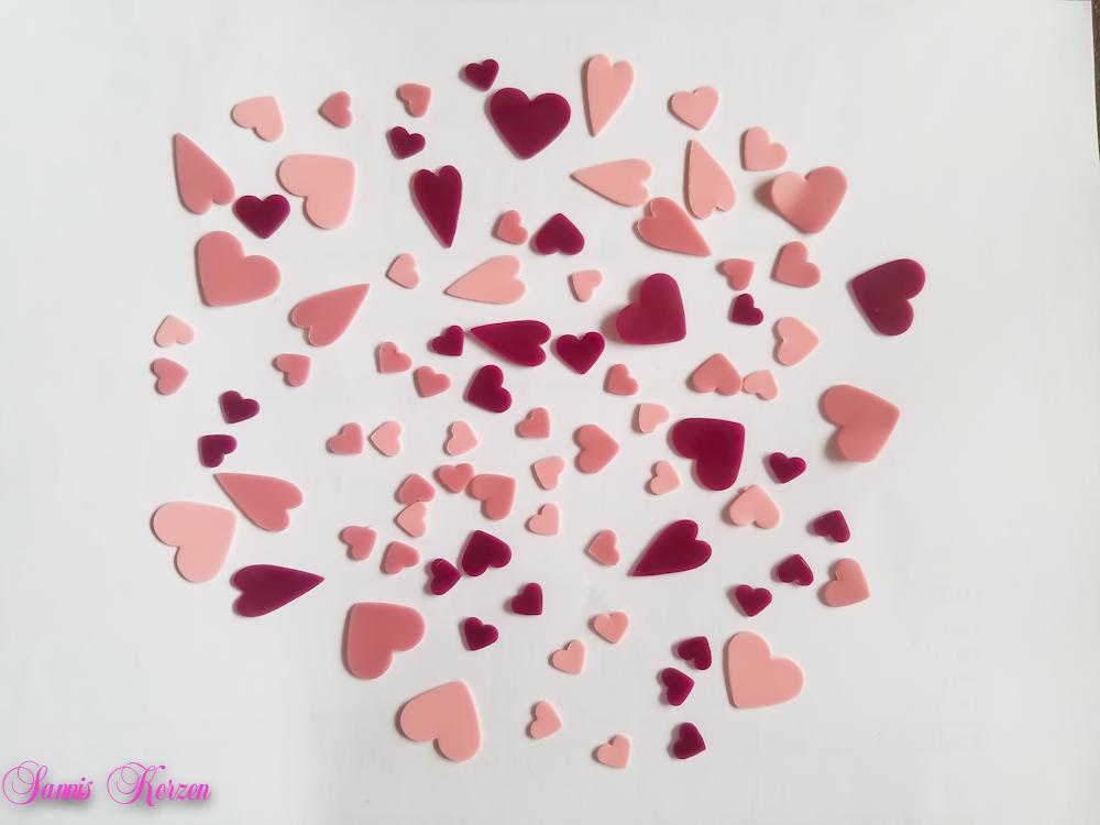 freie Farbwahl 87 Wachs-Herzen 3 Farben Mix für nur  8,00€