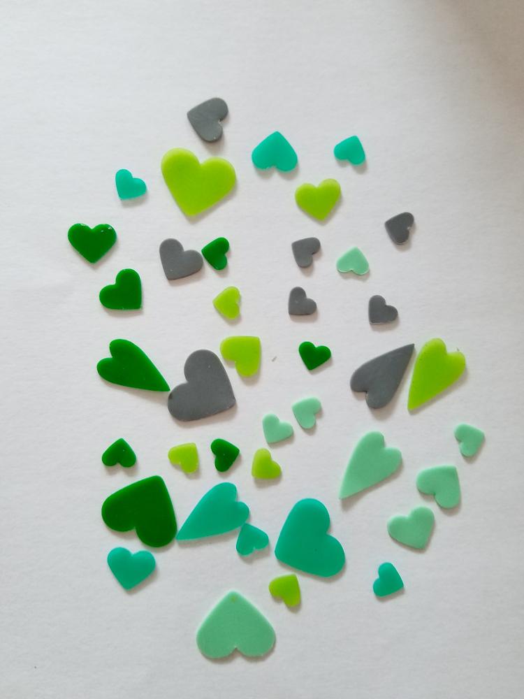 freie Farbwahl 48 Wachs-Herzen 6 Farben Mix