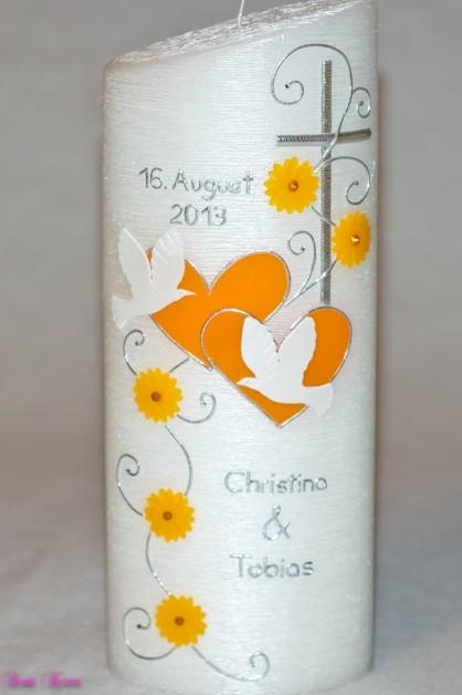 """Hochzeitskerze """"romantisch"""" Perlmutt oval abg. in der Farbe weiß  für nur  39,79€"""