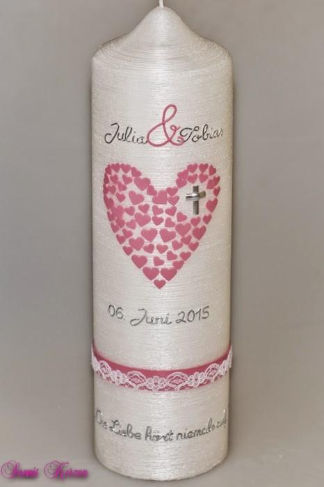 Hochzeitskerze Herz aus Herzen Perlmutt in der Farbe perlmutt  für nur  45,60€