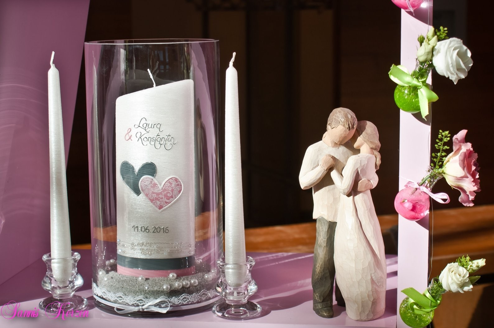 """Hochzeitskerze """"schlicht"""" Vintage abg. Perlmutt für nur 38,00€"""