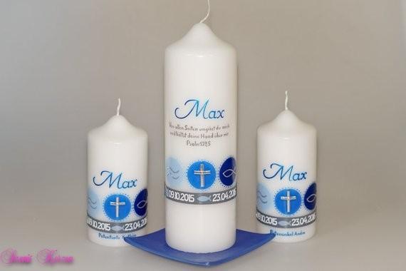 Taufkerze Zeichen mit Taufspruch in der Farbe weiß  für nur  35,50€