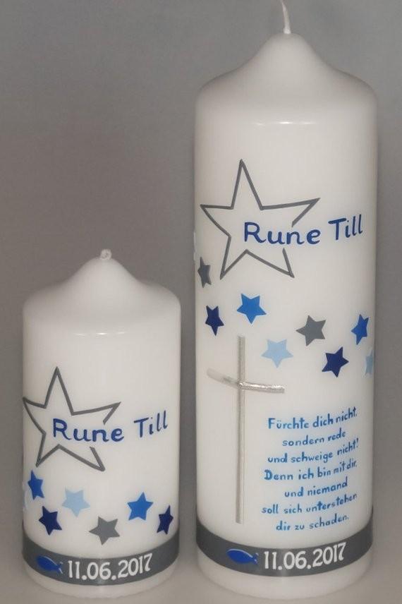 Taufkerze Sterne mit Taufspruch in der Farbe weiß  für nur  35,50€