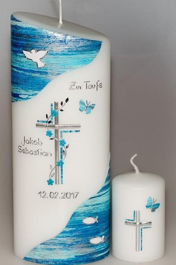 Taufkerze Blütenkreuz oval abg. in der Farbe weiß  für nur 40,50€