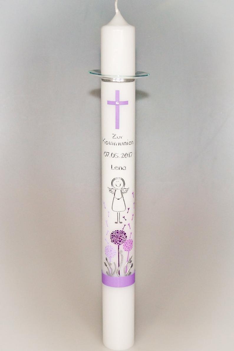 """Kommunionskerze """"Pusteblumen"""" lang in der Farbe weiß  für nur  40,50€"""