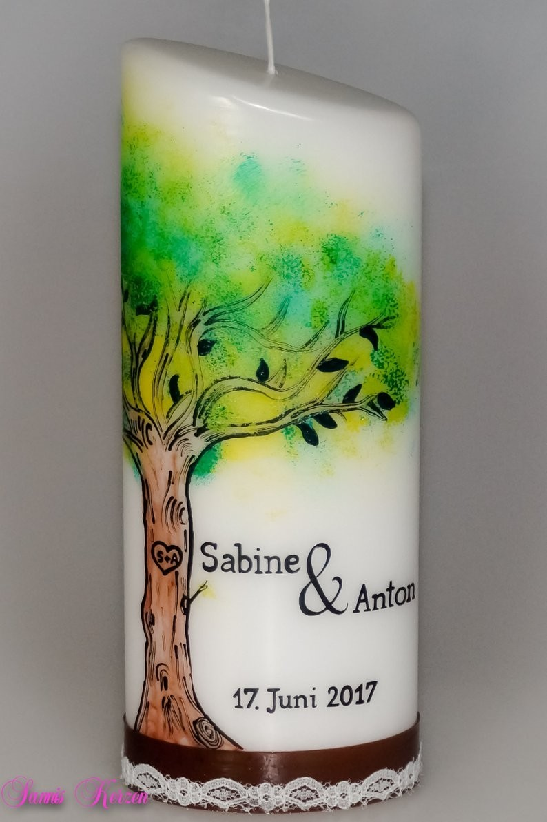 Bemalte Hochzeitskerze Baum in der Farbe weiß  für nur  47,36€