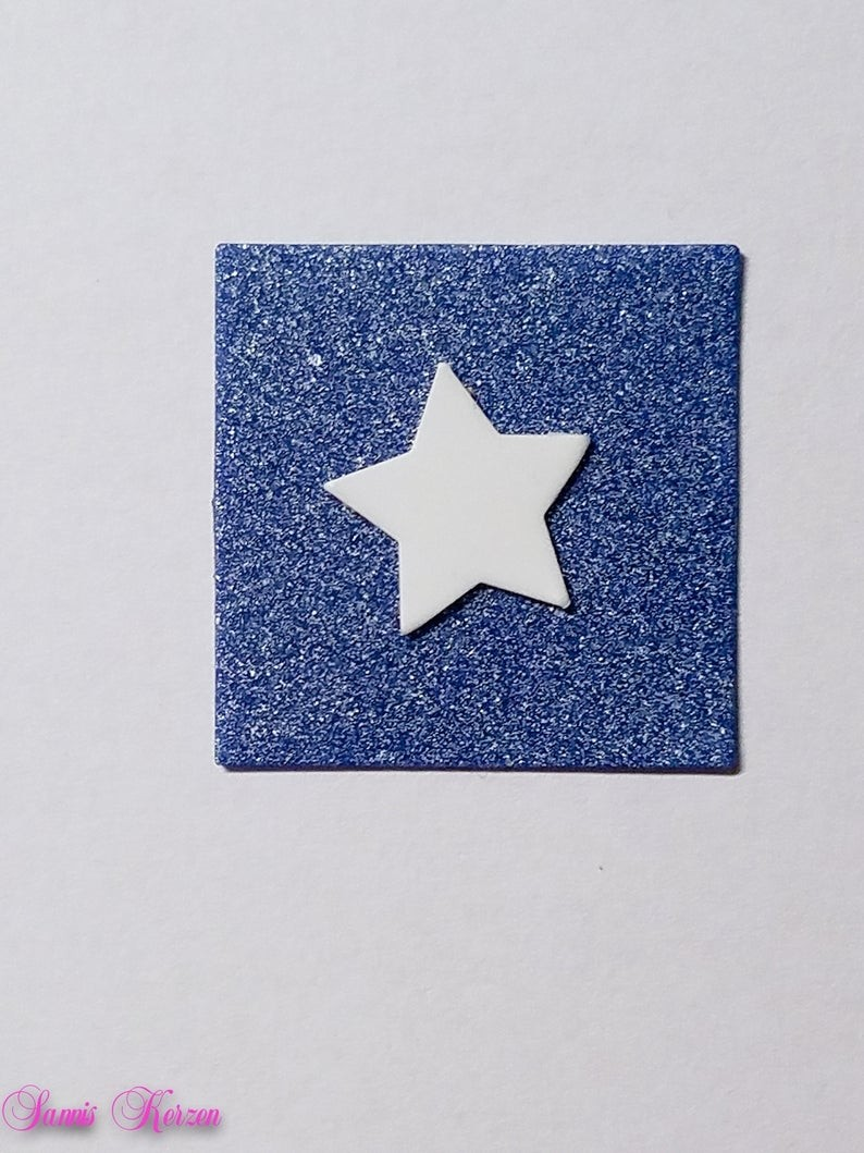freie Farbwahl Wachs-Quadrat mit Stern für nur 1,66€