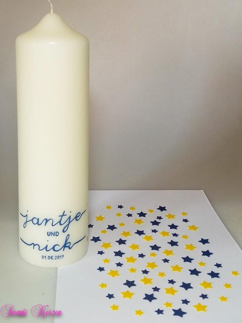 Wunsch-Schriftart Kerzenrohling mit Beschriftung zum selbst verzieren für nur  22,50€
