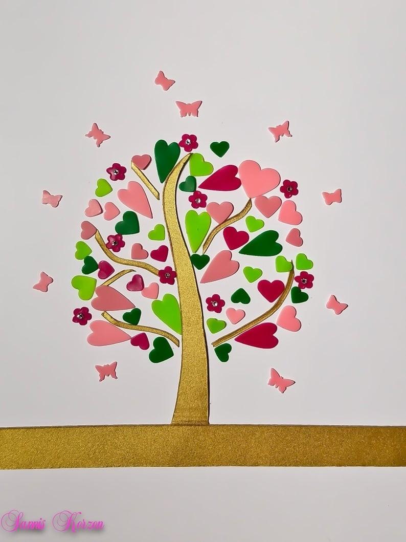 freie Farbwahl DIY Set Wachs-Herzbaum mit Blüten und Schmetterlingen für nur 14,68€