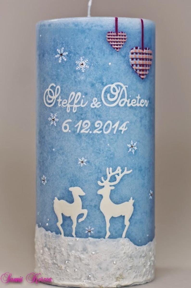 """Hochzeitskerze """"Schneehirsch"""" Rustik in der Farbe türkis  für nur 40,00€"""