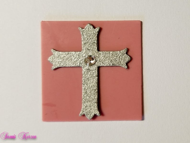 freie Farbwahl Wachs-Quadrat mit Kreuz und Strassstein für nur  1,86€