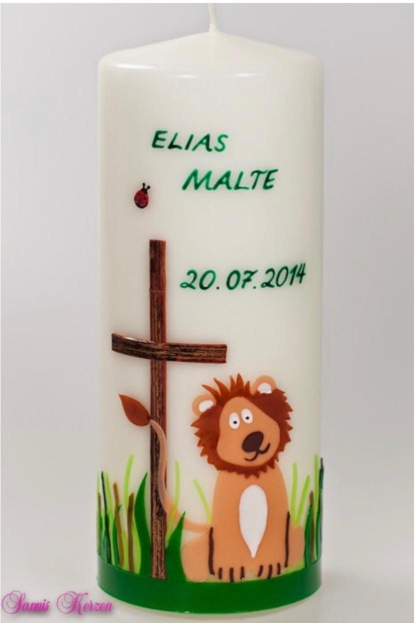 Taufkerze Frühlingswiese mit Löwe in der Farbe weiß  für nur 42,00€