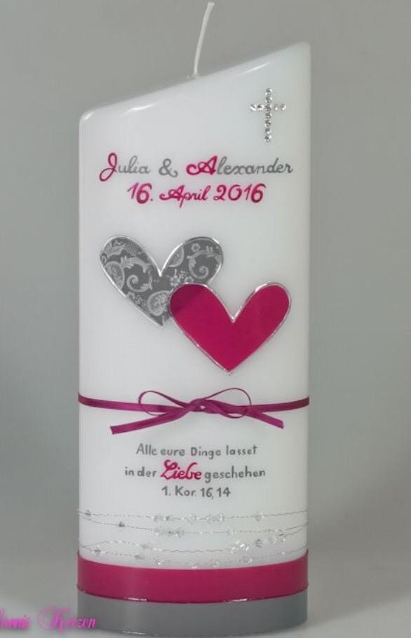 Hochzeitskerze schlicht Vintage mit Spruch in der Farbe weiß  für nur 42,00€