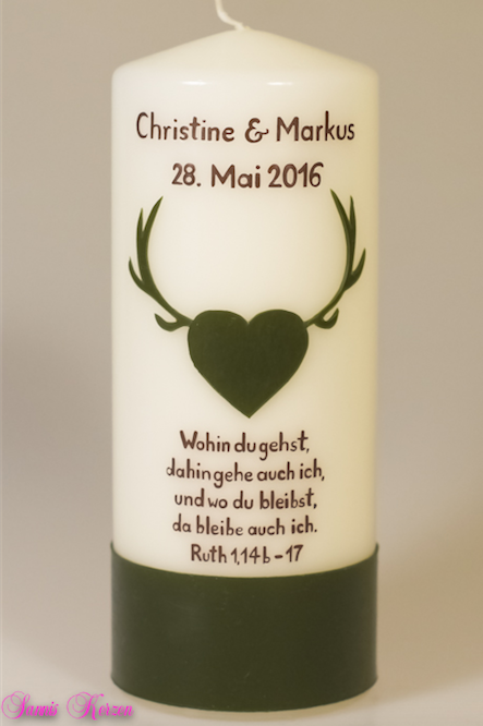 """Hochzeitskerze """"Herz & Geweih"""" für nur 30,00€"""