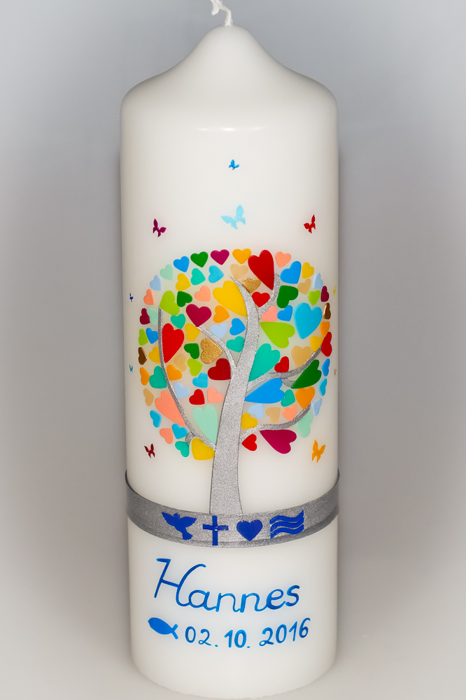 Taufkerze Herzbaum mit christlichen Symbolen in der Farbe weiß  für nur 47,36€