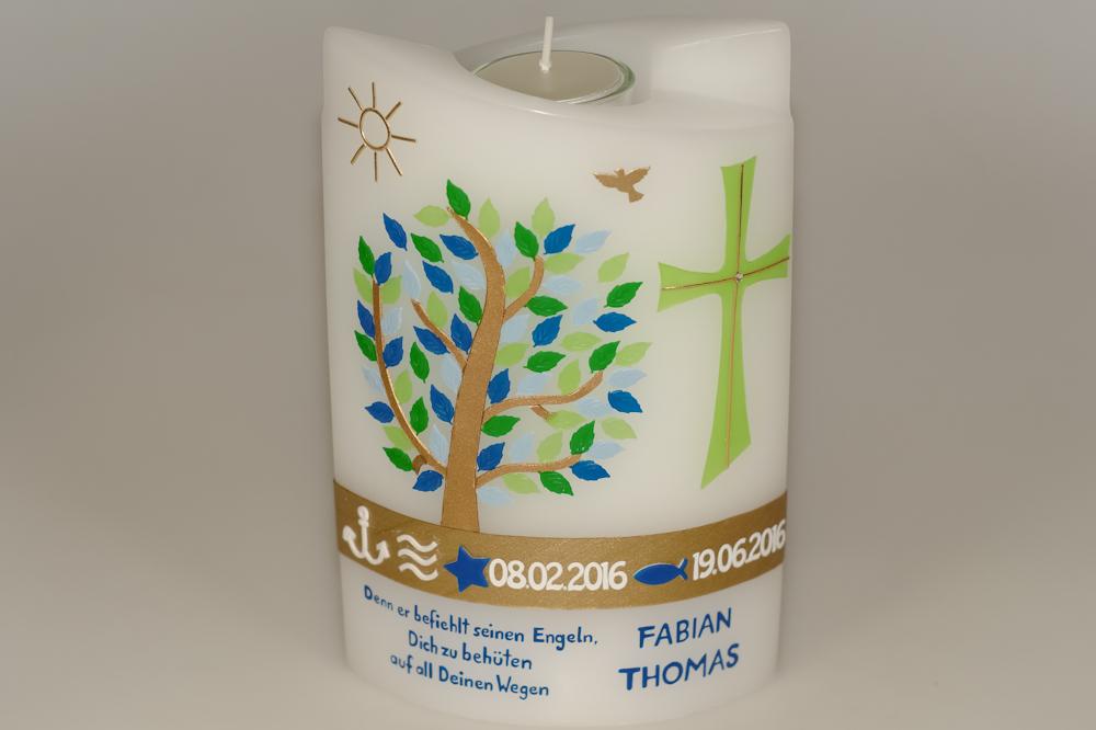 Taufkerze Lebensbaum doppelt oval abg. mit Teelicht in der Farbe weiß  für nur  63,36€