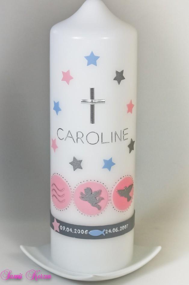 Taufkerze mit Zeichen groß und Sternchen in der Farbe weiß  für nur  29,00€