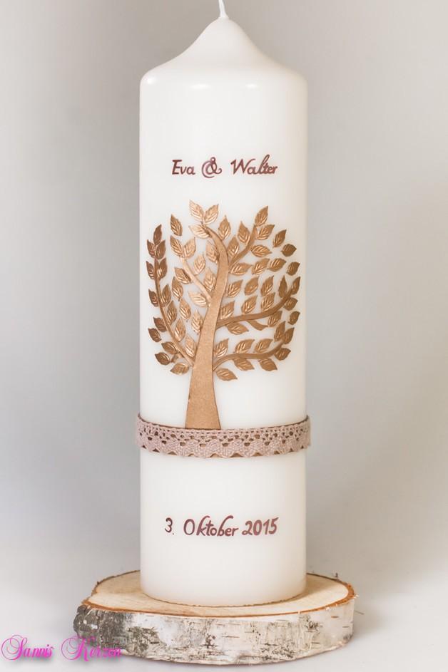 Hochzeitskerze Baum mit Spitze