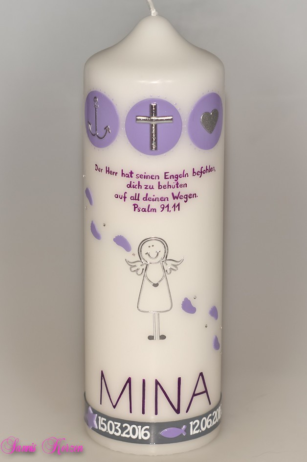 Taufkerze Engel Zeichen mit Taufspruch in der Farbe weiß  für nur  39,30€