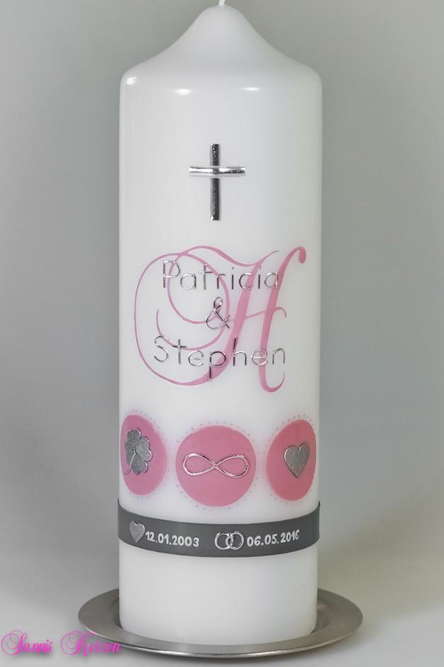 Hochzeitskerze Monogramm mit Zeichen in der Farbe weiß  für nur 40,00€