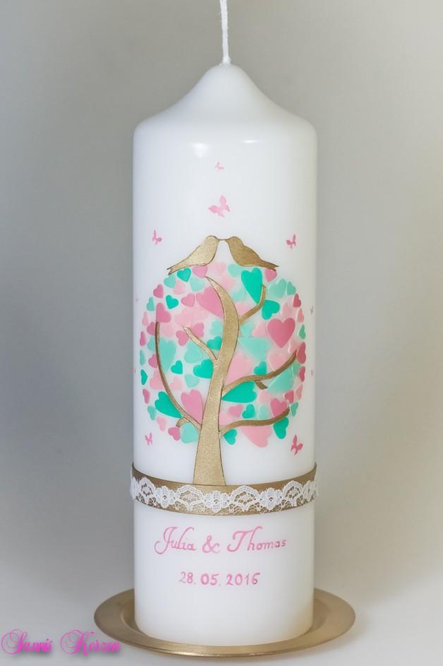 Hochzeitskerze Herzbaum mit Schmetterlingen und Sp in der Farbe weiß  für nur  45,36€