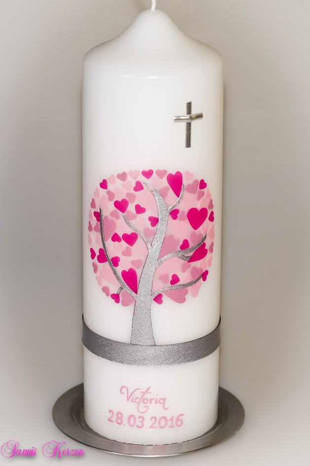 /Taufkerze Herzbaum von weiß in der Farbe weiß  for 44,36€