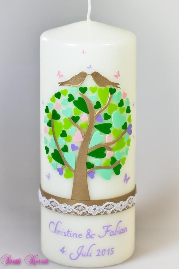 Hochzeitskerze Herzbaum mit zarter Spitze für nur  45,36€