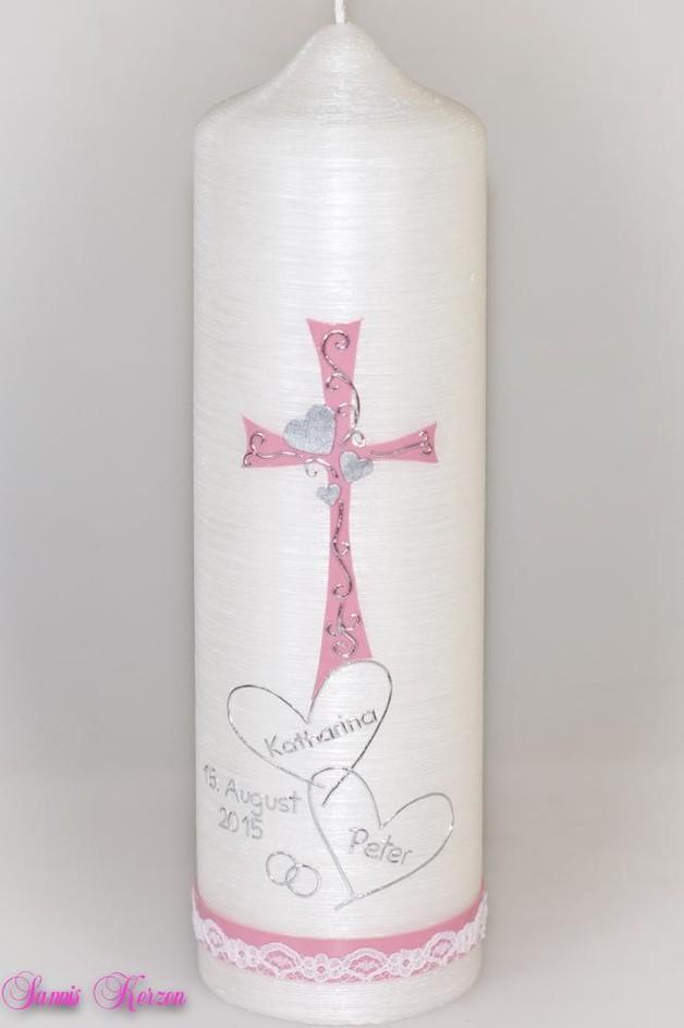 """Hochzeitskerze """"Rankenkreuz"""" mit Spitze Perlmutt für nur 39,60€"""