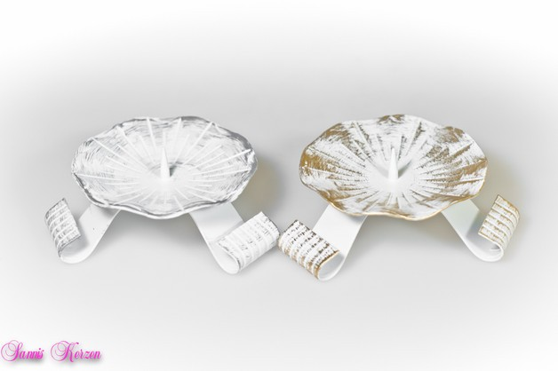 Kerzenständer weiss-silber / weiss-gold für nur 7,00€