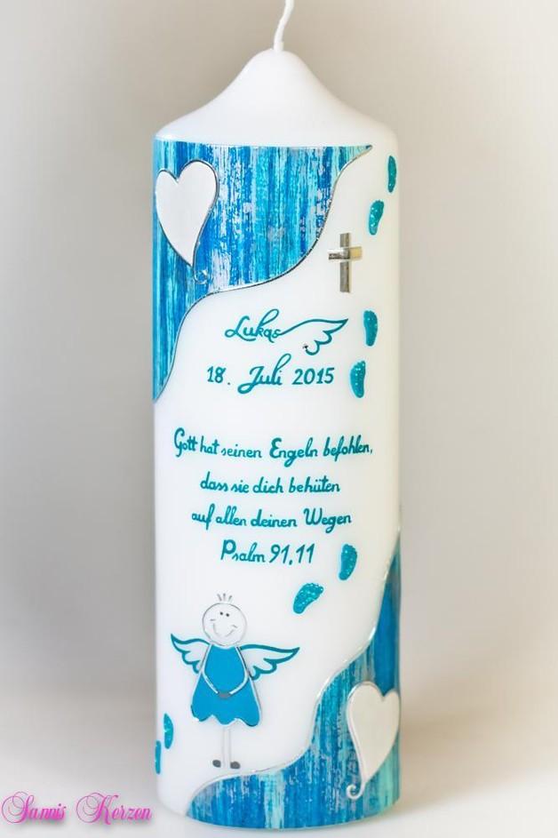 /Taufkerze Engel mit Fußspuren von weiß for 34,86€