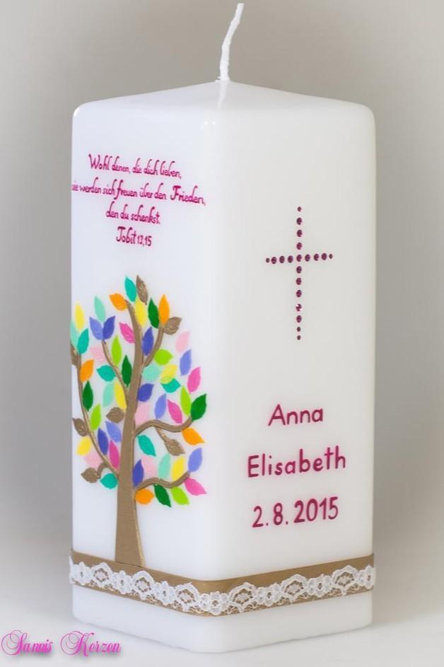 /Taufkerze Baum viereckig von weiß for 52,36€