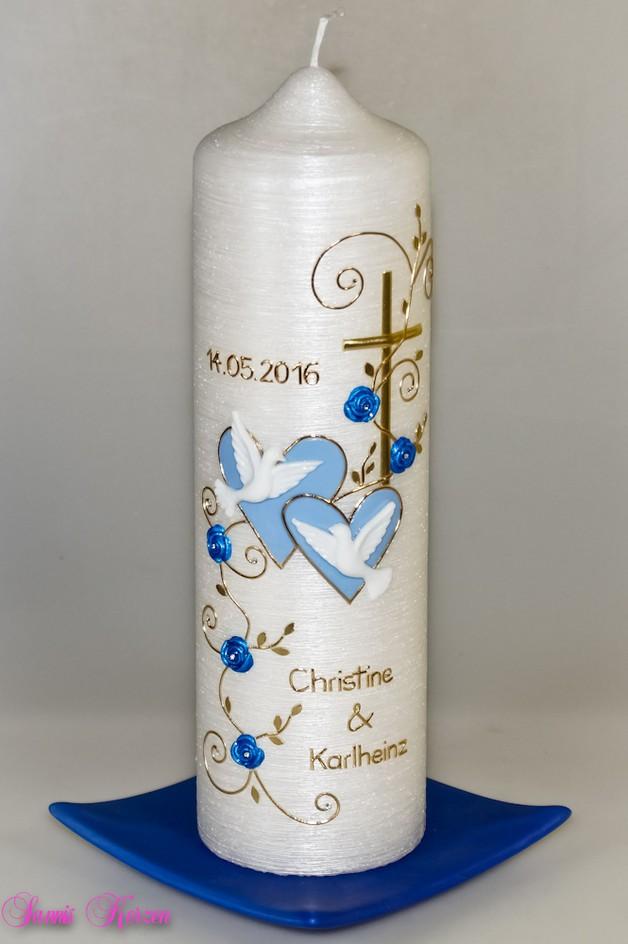 """Hochzeitskerze """"romantisch"""" mit Blättern Perlmutt in der Farbe perlmutt  für nur 44,00€"""