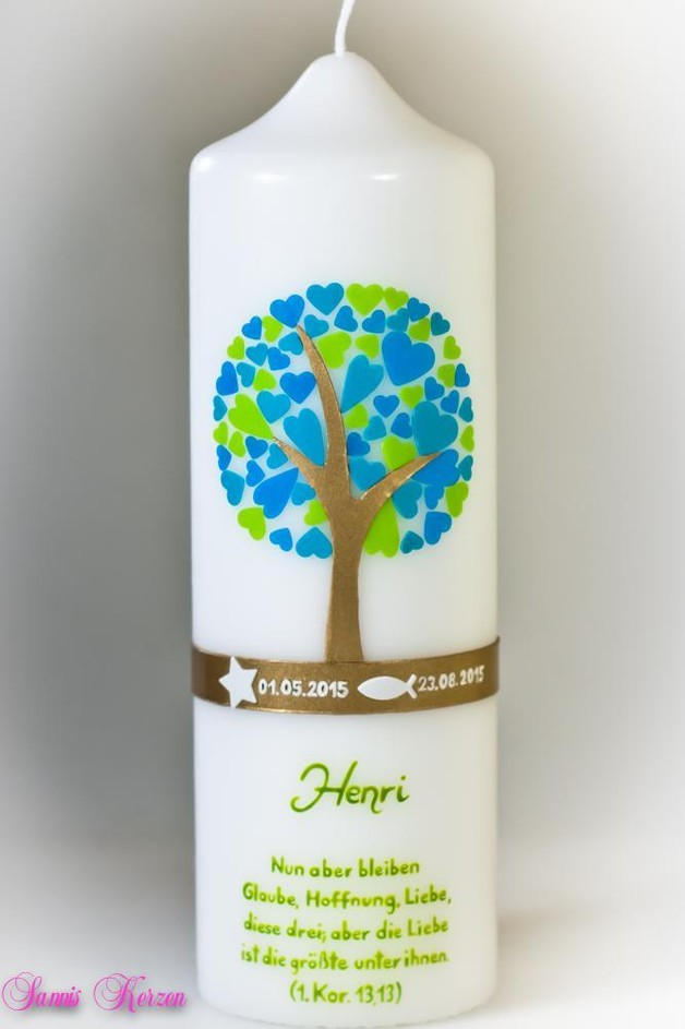 Taufkerze Herzbaum mit Spruch